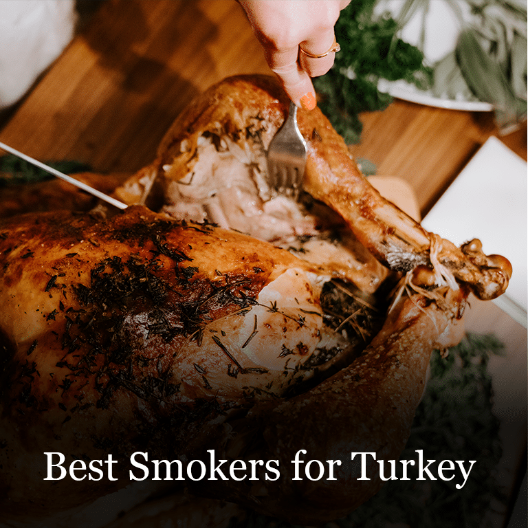 Thanksgiving turkey cooked in a smoker. The best smokers for turkey.